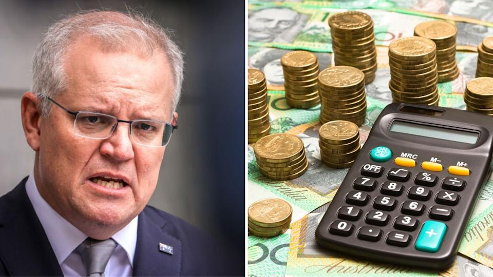 Pictured: Prime Minister Scott Morrison, Australian cash and calculator suggesting tax cut. Images: Getty