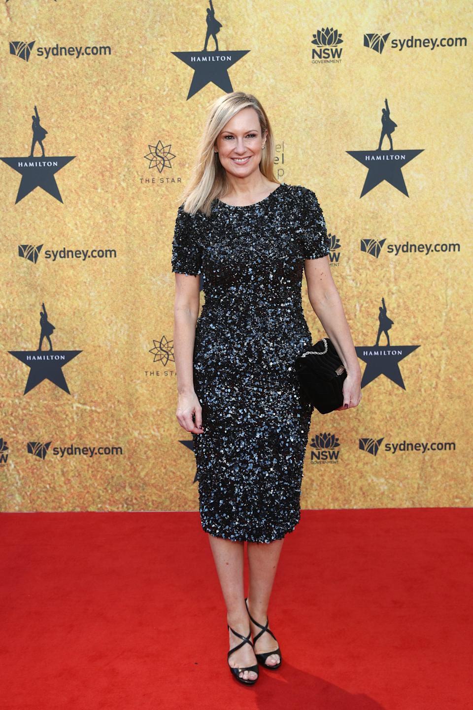 Melissa Doyle wears a black sparkly dress on the red carpet at the Australian premiere of Hamilton at Lyric Theatre, Star City on March 27, 2021 in Sydney, Australia. (Photo by Don Arnold/WireImage)