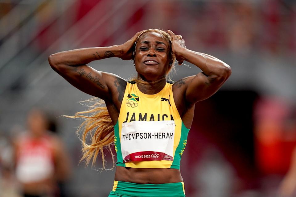 Pictured here, Jamaica's Elaine Thompson-Herah reacts after winning the women's 100m final.