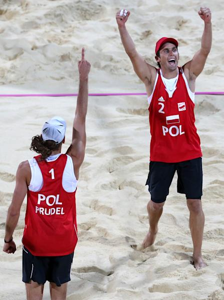 Mariusz Prudel, left, and Grzegorz Fijalek, right, celebrate after defeating USA in their Beach Volleyball match at the 2012 Summer Olympics, Monday, July 30, 2012, in London. (AP Photo/Petr David Josek)