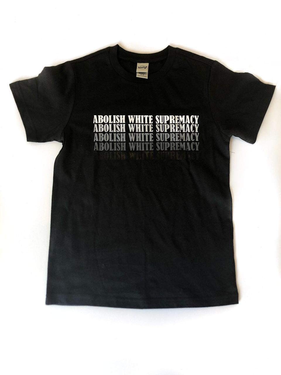 """<p>Available in a slew of sizes, the <a href=""""https://www.popsugar.com/buy/Abolish-White-Supremacy-Kids-Shirt-579614?p_name=Abolish%20White%20Supremacy%20Kids%20Shirt&retailer=typicalblacktees.com&pid=579614&price=24&evar1=moms%3Aus&evar9=47528625&evar98=https%3A%2F%2Fwww.popsugar.com%2Ffamily%2Fphoto-gallery%2F47528625%2Fimage%2F47528781%2FAbolish-White-Supremacy-Kids-Shirt&list1=kid%20shopping&prop13=mobile&pdata=1"""" rel=""""nofollow noopener"""" class=""""link rapid-noclick-resp"""" target=""""_blank"""" data-ylk=""""slk:Abolish White Supremacy Kids Shirt"""">Abolish White Supremacy Kids Shirt</a> ($24) is a must buy.</p>"""