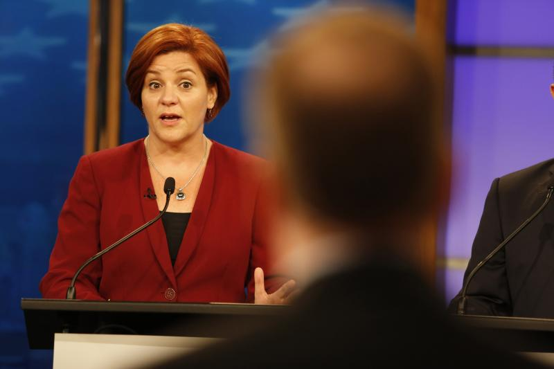 Christine Quinn speaks during the final Democratic party New York City mayoral debate one week before the primary election in New York