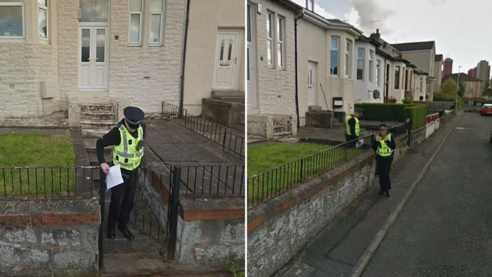 Police officers shown in front of a home in Glasgow, Scotland.