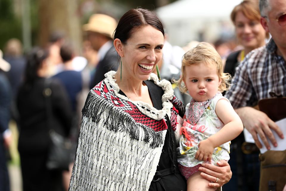 New Zealand Prime Minister Jacinda Ardern (L) and her daughter Neve Gayford at the upper Treaty grounds at Waitangi on February 04, 2020 in Waitangi, New Zealand. The Waitangi Day national holiday celebrates the signing of the treaty of Waitangi on February 6, 1840 by Maori chiefs and the British Crown, that granted the Maori people the rights of British Citizens and ownership of their lands and other properties. (Photo by Fiona Goodall/Getty Images)