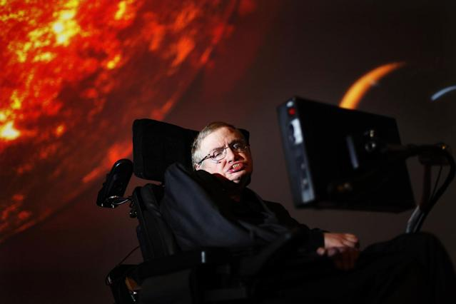 "<p>Professor Stephen Hawking watches the first preview of his new show for the Discovery Channel, ""Stephen Hawking's Universe"" in London, Britain on April 29, 2010. (Photo: David Parry/PA Wire via ZUMA Press) </p>"