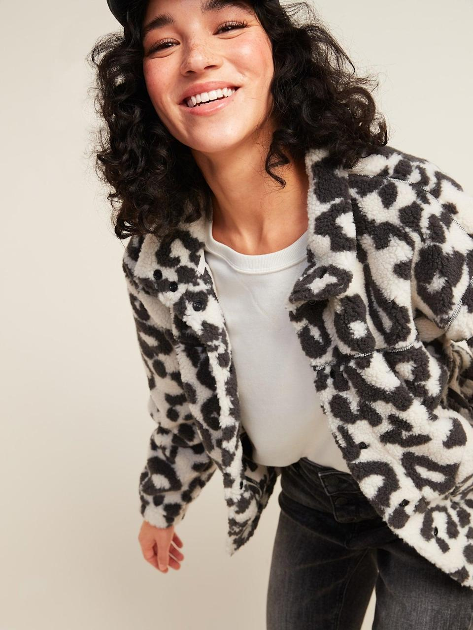 <p>This <span>Cozy Sherpa Snap-Front Crop Jacket</span> ($37, originally $40) is warm on its own, but can also be worn underneath a longer coat.</p>