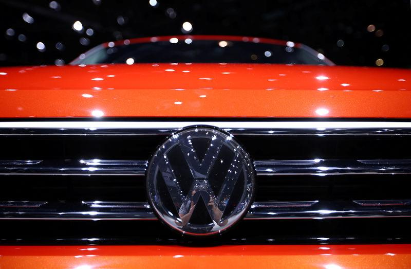 FILE PHOTO: A Volkswagen logo is seen on a new car model at the 89th Geneva International Motor Show