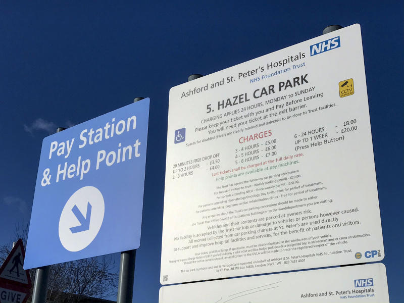 A general view of one of the visitor car parks at St Peter's Hospital near Chertsey, Surrey. A study by PA news agency has found hospitals made more than ??254 million from parking in 2018/19, with Ashford and St Peter's Hospitals NHS Foundation Trust charging ??3.50 for a one-hour stay. (Photo by Steve Parsons/PA Images via Getty Images)