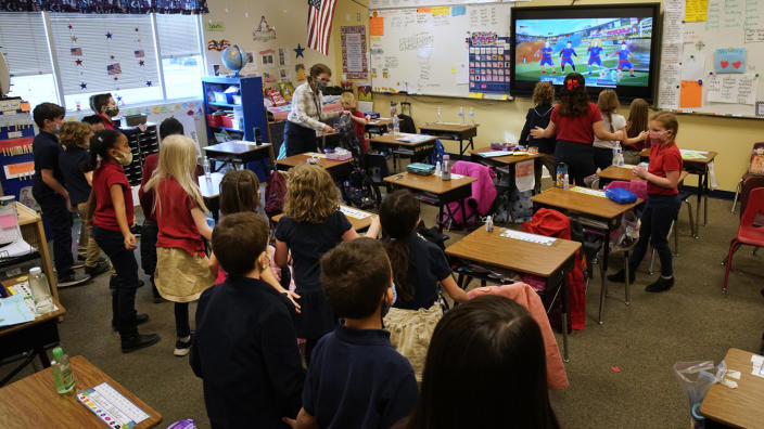 A teacher instructs students at Freedom Preparatory Academy on February 10, 2021 in Provo, Utah. (George Frey/Getty Images)