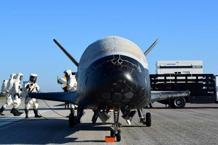 In this image released by the US Air Force, the Air Force's X-37B Orbital Test Vehicle -- mission 4 -- lands at NASA's Kennedy Space Center on May 7, 2017 -- it is due to be launched again in May 2020 (AFP Photo/HO)