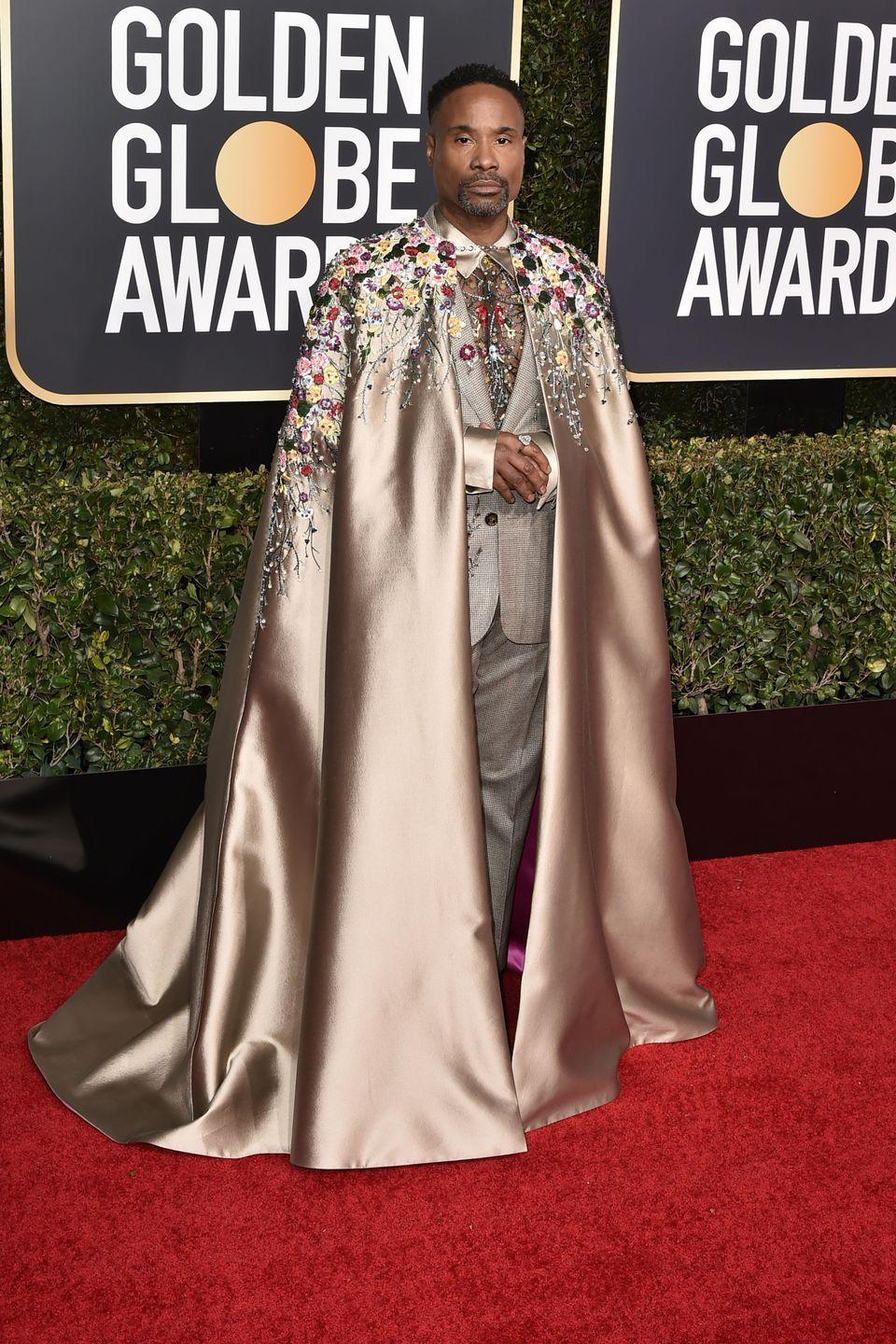 """<p>Billy Porter wore an embroidered suit and cape by Randi Rahm at the 2019 Golden Globes, which – according to <a href=""""https://www.hollywoodreporter.com/news/billy-porter-s-ott-golden-globes-ensemble-took-6-months-make-1173932"""" rel=""""nofollow noopener"""" target=""""_blank"""" data-ylk=""""slk:The Hollywood Report"""" class=""""link rapid-noclick-resp"""">The Hollywood Report</a><a href=""""https://www.hollywoodreporter.com/news/billy-porter-s-ott-golden-globes-ensemble-took-6-months-make-1173932"""" rel=""""nofollow noopener"""" target=""""_blank"""" data-ylk=""""slk:er"""" class=""""link rapid-noclick-resp"""">er</a>– took six months to make. Porter also wore three brooches and a ring by jeweler Oscar Heyman. </p>"""