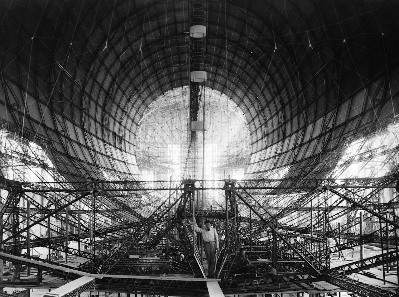 <p>A view of the Hindenburg dirigible while under construction in Germany in 1934 (Keystone-France/Gamma-Keystone via Getty Images) </p>