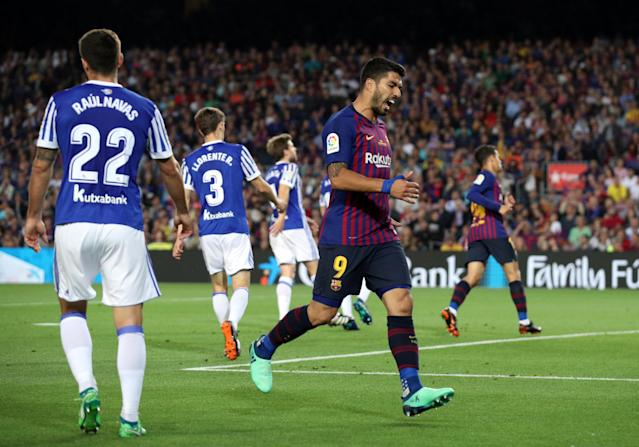 Soccer Football - La Liga Santander - FC Barcelona vs Real Sociedad - Camp Nou, Barcelona, Spain - May 20, 2018 Barcelona's Luis Suarez reacts REUTERS/Albert Gea