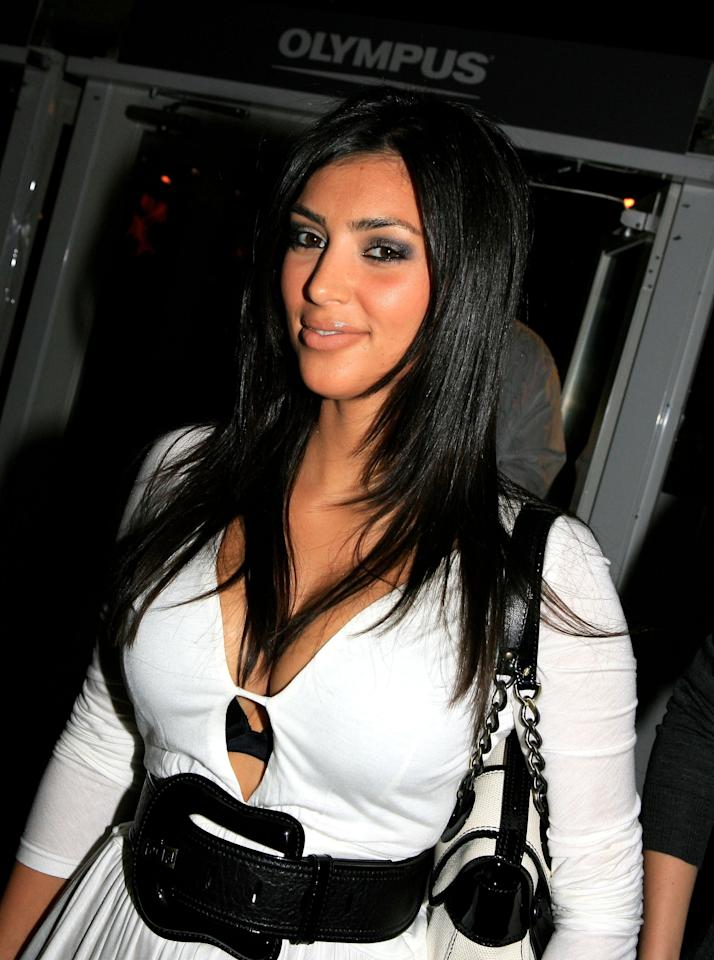 Kim Kardashian poses in the lobby during an Olympus Fashion Week event in Bryant Park September 12, 2006 in New York City. Photo courtesy of Getty Images.