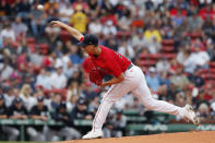 Boston Red Sox's Nick Pivetta pitches during the first inning of a baseball game against the New York Yankees, Saturday, Sept. 25, 2021, in Boston. (AP Photo/Michael Dwyer)