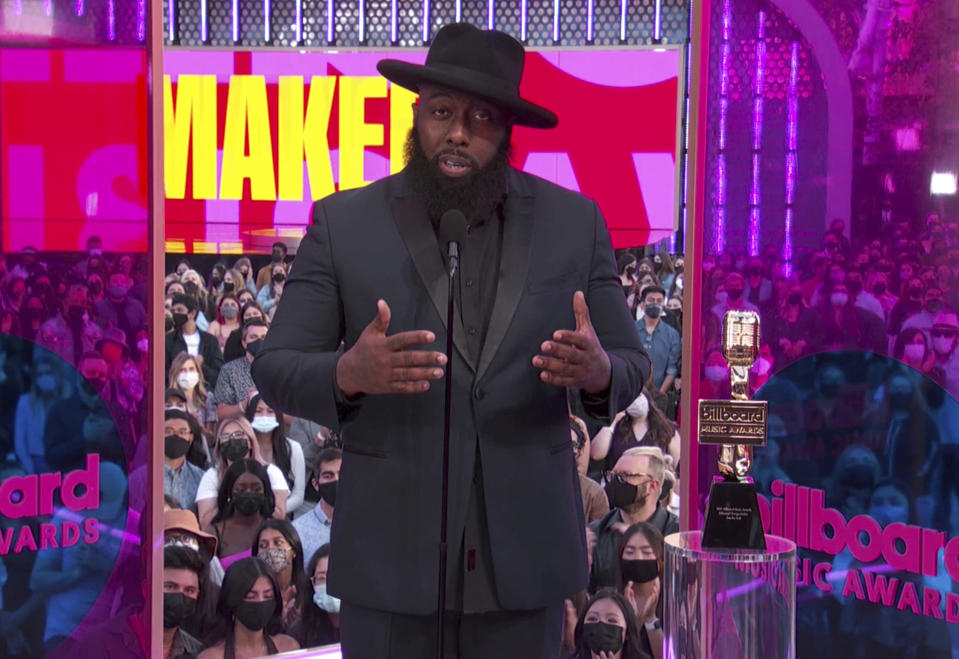In this video image provided by NBC, Trae the Truth accepts the change maker award during the Billboard Music Awards on Sunday, May 23, 2021. (NBC via AP)
