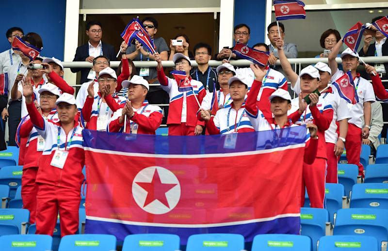 A file photo shows North Korean delegates waving national flags before a men's football match against China at the Asian Games in Incheon, September 15, 2014 (AFP Photo/Jung Yeon-Je)