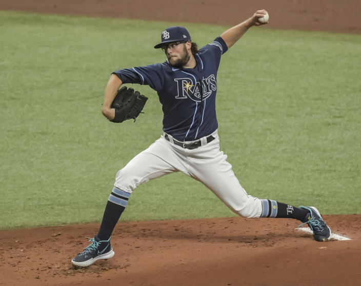 Tampa Bay Rays starter Josh Fleming pitches against the Houston Astros during the first inning of a baseball game Saturday, May 1, 2021, in St. Petersburg, Fla. (AP Photo/Steve Nesius)