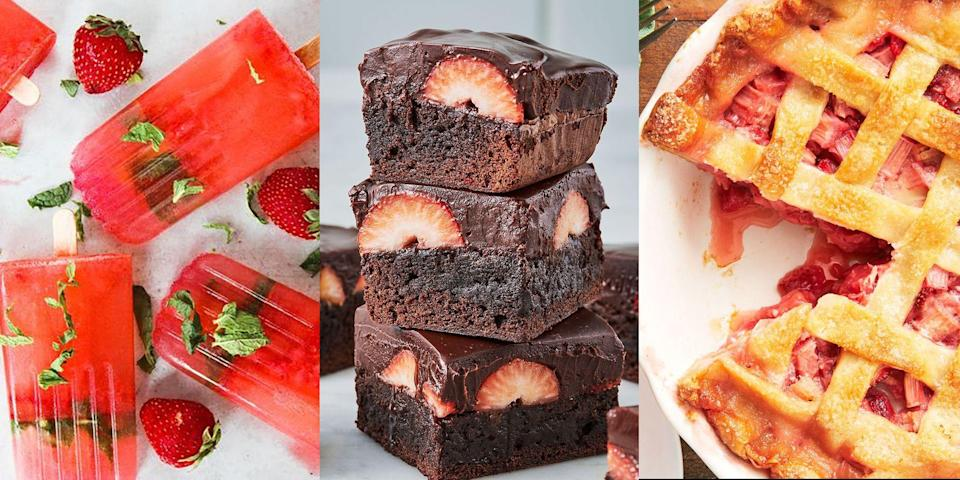 """<p>Fruit desserts are one thing, but strawberry desserts? Well, they're a thing of beauty. And for that exact reason, we've decided to round up a bunch of easy-to-make strawberry desserts for you to give a go. We're talking <a href=""""http://www.delish.com/uk/cooking/recipes/a32484927/strawberry-tart-recipe/"""" rel=""""nofollow noopener"""" target=""""_blank"""" data-ylk=""""slk:Strawberry Tarts"""" class=""""link rapid-noclick-resp"""">Strawberry Tarts</a>, <a href=""""https://www.delish.com/uk/cooking/recipes/a31954937/chocolate-strawberry-cake/"""" rel=""""nofollow noopener"""" target=""""_blank"""" data-ylk=""""slk:Strawberry Cakes"""" class=""""link rapid-noclick-resp"""">Strawberry Cakes</a>, <a href=""""https://www.delish.com/uk/cooking/recipes/a32283993/strawberry-shortcake-cookies-recipe/"""" rel=""""nofollow noopener"""" target=""""_blank"""" data-ylk=""""slk:Strawberry Cookies"""" class=""""link rapid-noclick-resp"""">Strawberry Cookies</a> and more! The lists goes on. And so, if you're hunting for only the very best strawberry desserts, we've got you well and truly covered. Oh and you're welcome...</p>"""
