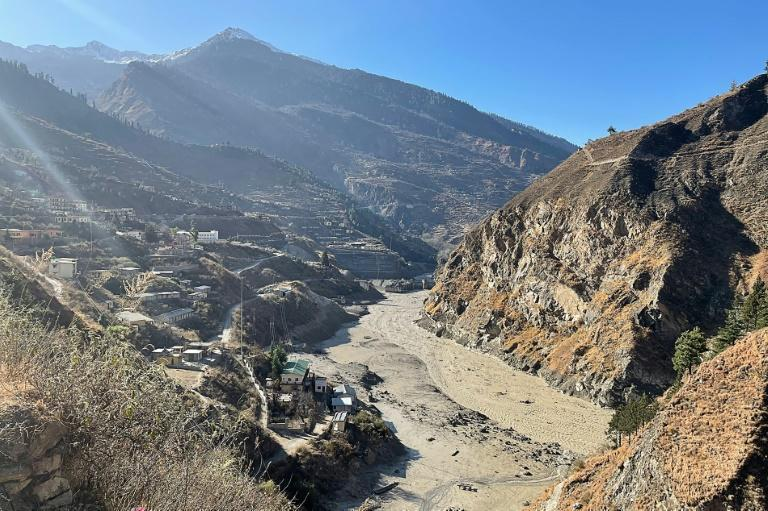 This general view shows a state-run hydropower project site damaged after a broken glacier caused floods that swept away bridges and roads in northern India