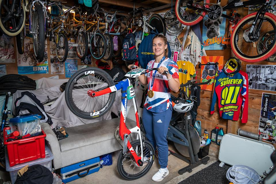 BMX gold medallist Beth Shriever at her home in Finchingfield, Essex (Aaron Chown/PA) (PA Wire)