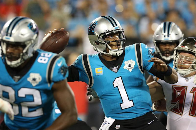 Former Panthers quarterback Cam Newton is still looking for a new NFL home. (Photo by John Byrum/Icon Sportswire via Getty Images)