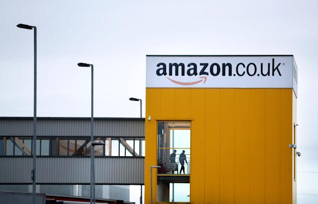 One of Britain's largest Amazon warehouses in Dunfermline, Fife, UK. (Jane Barlow/PA via Getty)