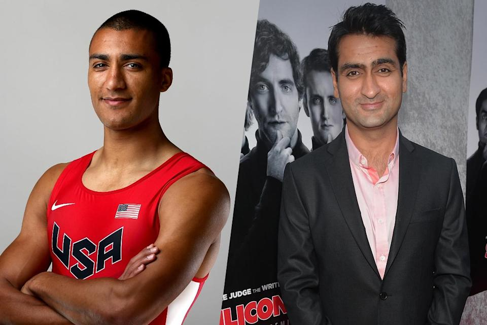 <p>American decathlete Ashton Eaton (left) and Silicon Valley actor Kumail Nanjiani (right). </p>