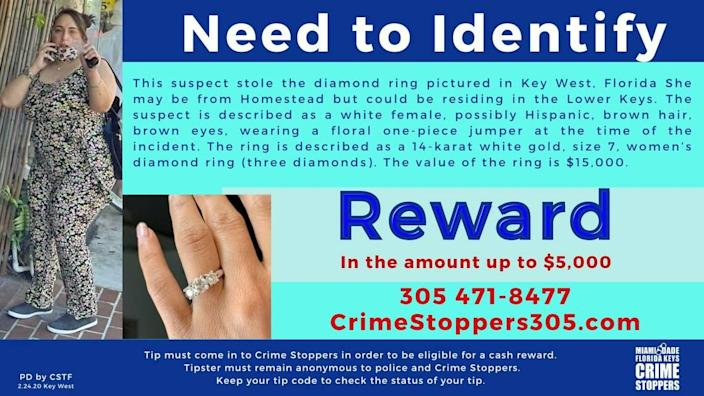 Crime Stoppers of Miami-Dade and the Florida Keys tweeted this flier on Feb. 24, 2021, saying the woman in the photo stole a $15,000 diamond ring in Key West.