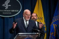 U.S. health officials hold news conference to discuss coronavirus outbreak at the Health and Human Services Department in Washington