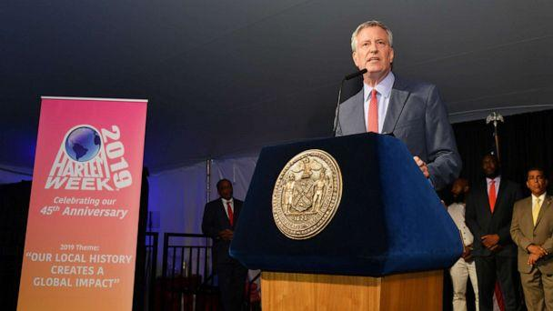 PHOTO: New York City Mayor Bill de Blasio speaks onstage honor of Memphis' 200th Anniversary celebrating 'A New Century Of Soul' between two iconic communities at Gracie Mansion, July 18, 2019, in New York. (Mike Coppola/Getty Images for Memphis Brand Initiative)
