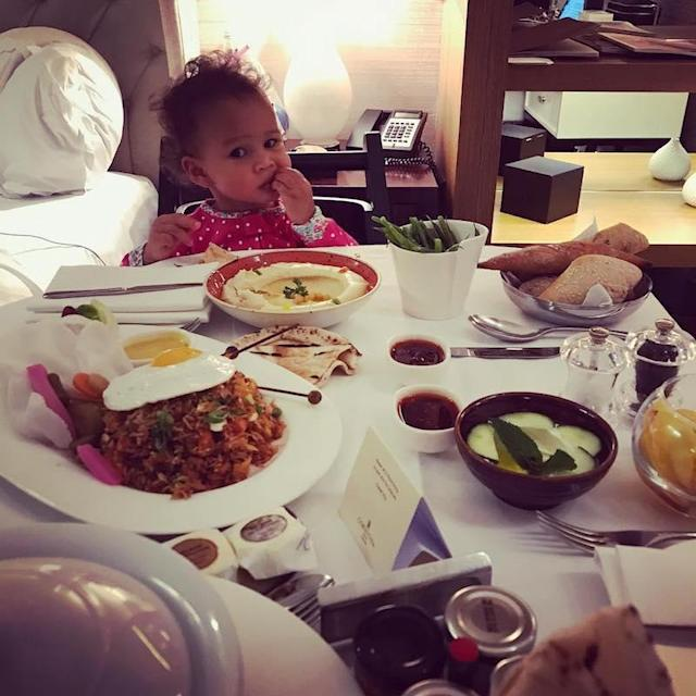"""<p>The model, who is traveling in London with husband John Legend and their cute daughter, Luna, shared a pic of the little one dismayed at her hotel's gourmet eats. """"Today's mood: cannot be pleased,"""" Teigen noted. That Luna is one tough critic! (Photo: <a href=""""https://www.instagram.com/p/BY6fEwcDQl2/?taken-by=chrissyteigen"""" rel=""""nofollow noopener"""" target=""""_blank"""" data-ylk=""""slk:Chrissy Teigen via Instagram"""" class=""""link rapid-noclick-resp"""">Chrissy Teigen via Instagram</a>) </p>"""