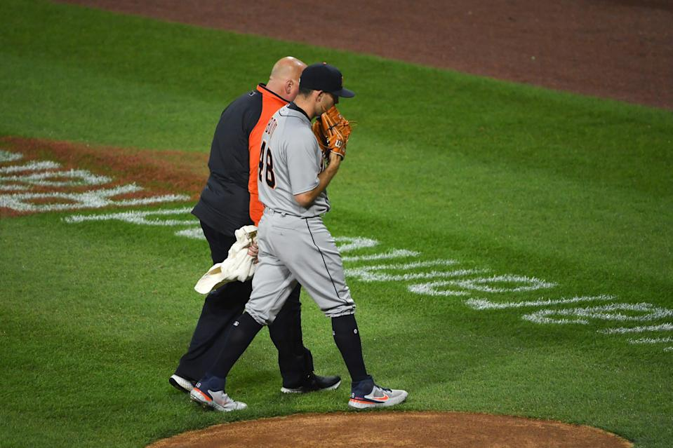 Matthew Boyd #48 of the Detroit Tigers leaves the game in the second inning after an apparent injury against the Chicago White Sox in Game 2 at Guaranteed Rate Field in Chicago on Thursday, April 29, 2021.