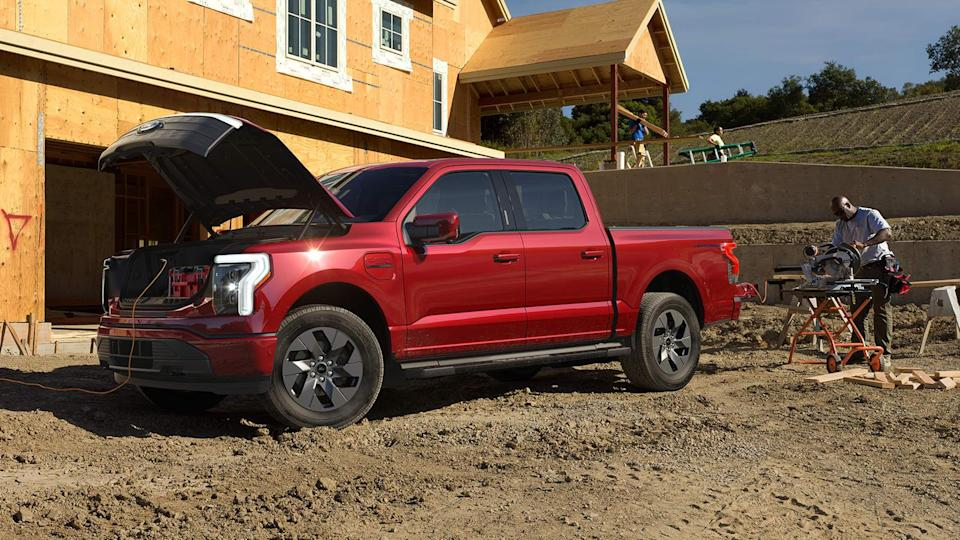 2022 Ford F-150 Lightning with power tools plugged in