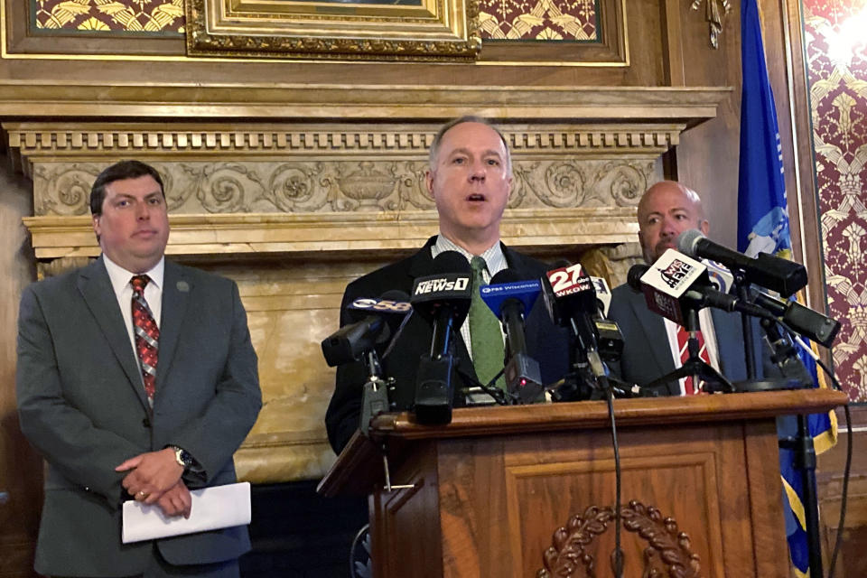 FILE - In this July 27, 2021 file photo, Assembly Speaker Robin Vos, speaks at the Capitol in Madison, Wis. Vos the highest ranking Republican in the Wisconsin Assembly said Friday, June 30, 2021 that he was expanding a probe into the 2020 presidential election, saying it will take more investigators and time than originally planned. Vos signed contracts in June with two retired police detectives and a former Wisconsin Supreme Court Justice to handle the investigation. (AP Photo/Scott Bauer File)