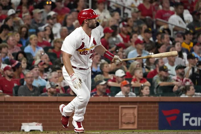 St. Louis Cardinals' Paul Goldschmidt watches his RBI single against the San Diego Padres.