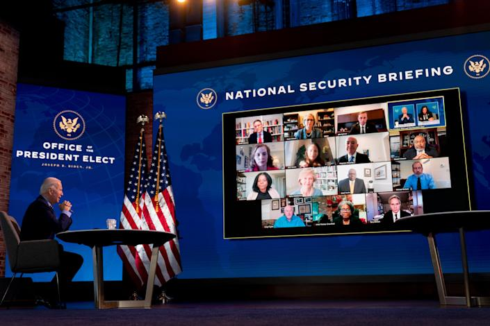 President-elect Joe Biden speaks during a virtual meeting with members of his national security and foreign policy agency review teams at The Queen theater, Monday, Dec. 28, 2020, in Wilmington, Delaware.