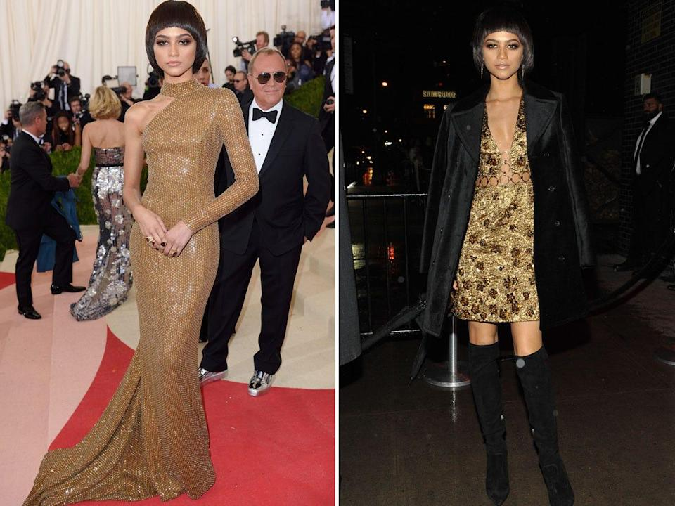 Zendaya at the 2016 Met Gala and an after-party.