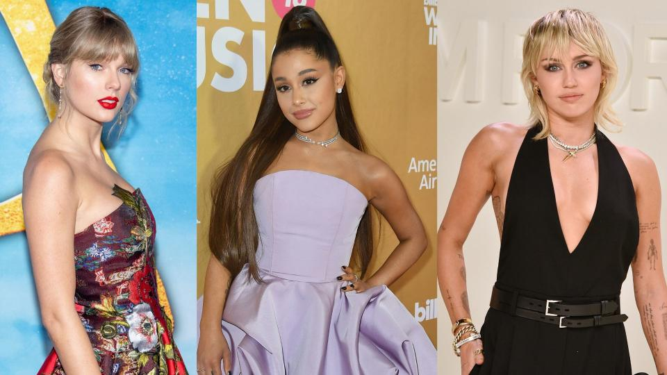 Taylor Swift, Ariana Grande and Miley Cyrus have all issued warnings to their fans regarding the novel coronavirus. Images via Getty Images.