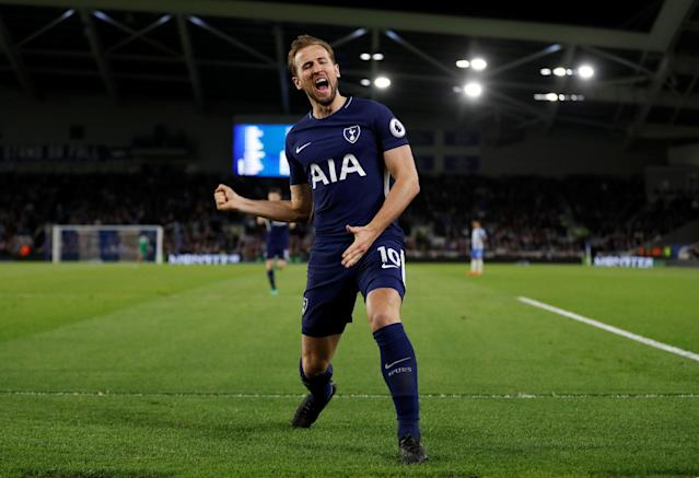 """Soccer Football - Premier League - Brighton & Hove Albion vs Tottenham Hotspur - The American Express Community Stadium, Brighton, Britain - April 17, 2018 Tottenham's Harry Kane celebrates scoring their first goal Action Images via Reuters/Matthew Childs EDITORIAL USE ONLY. No use with unauthorized audio, video, data, fixture lists, club/league logos or """"live"""" services. Online in-match use limited to 75 images, no video emulation. No use in betting, games or single club/league/player publications. Please contact your account representative for further details."""