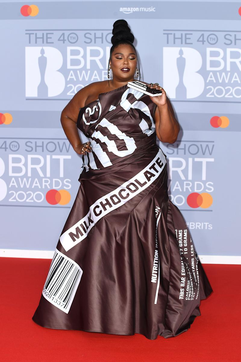 Lizzo at the BRIT Awards 2020 in London on Tuesday. (Gareth Cattermole via Getty Images)