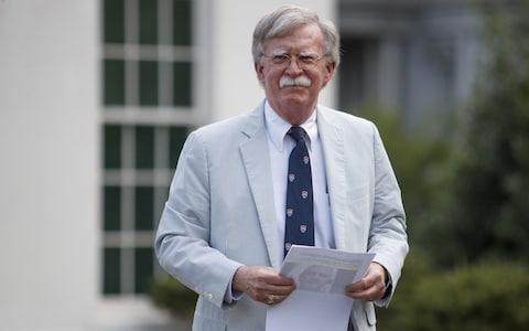 John Bolton, the National Security Advisor to Trump, speaks at the White House as sources revealed Hamza had been killed - Credit: Tom Brenner/ Bloomberg
