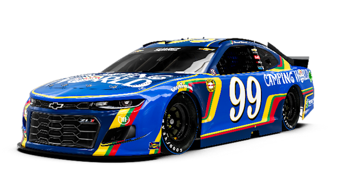Daniel Suárez will drive a Throwback paint scheme on the No. 99 Trackhouse Racing Chevrolet Camaro at Darlington that honors the 55th birthday of sponsor Camping World.