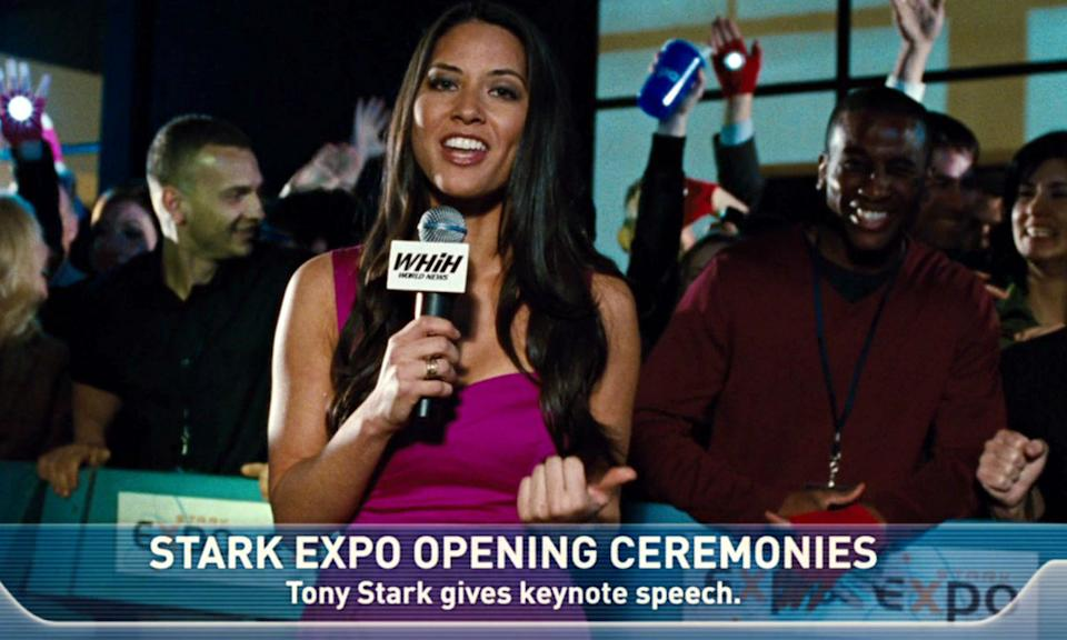 Before she became an actress (and Psylocke in X-Men: Apocalypse) Munn was a web presenter and she appeared as red carpet reporter Chess Roberts in Iron Man 2.