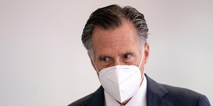 Sen. Mitt Romney (R-UT) arrives for a weekly Senate Republican policy luncheon in the Hart Senate Office Building on June 16, 2020 in Washington, DC.