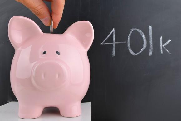 Coin being inserted into piggy bank next to chalkboard with 401k written in chalk