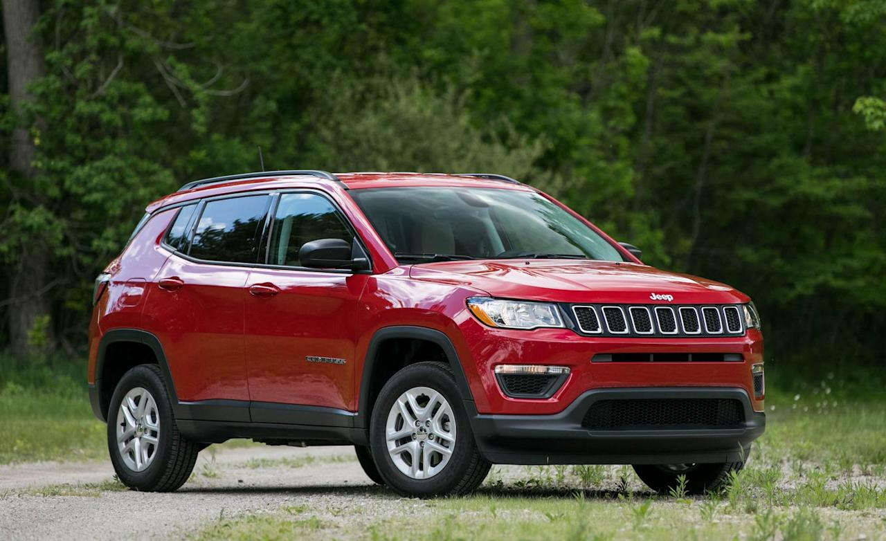 """<p>Despite its boxy exterior and competitive seats-folded cargo volume, <a rel=""""nofollow"""" href=""""https://www.caranddriver.com/jeep/compass"""">the Jeep Compass</a> is not the roomiest of this set of vehicles. This makes sense: The Jeep slots between the subcompact and compact classes, although we categorize it as the latter. We fit 17 of our carry-ons into the Compass with the rear seats folded and only six with all of those seats up.  </p>"""