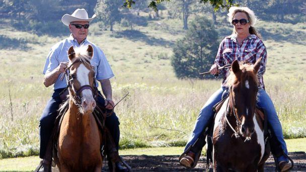 PHOTO: Alabama Republican Senate candidate Roy Moore on Sassy and wife Kayla on Sundance ride their horses to the Gallant Fire Hall to vote in today's GOP runoff election, Sept. 26, 2017, in Gallant, Ala. (MoHal Yeager/Getty Images)