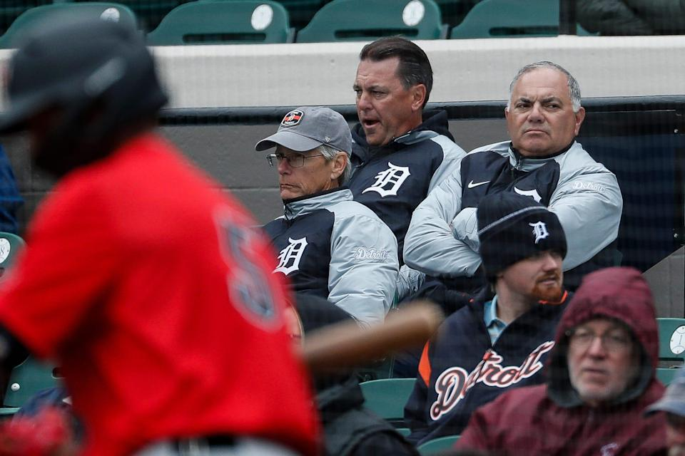 Tigers General Manager Al Avila watches the exhibition against Southeastern University at Joker Marchant Stadium in Lakeland, Fla., Friday, Feb. 21, 2020.