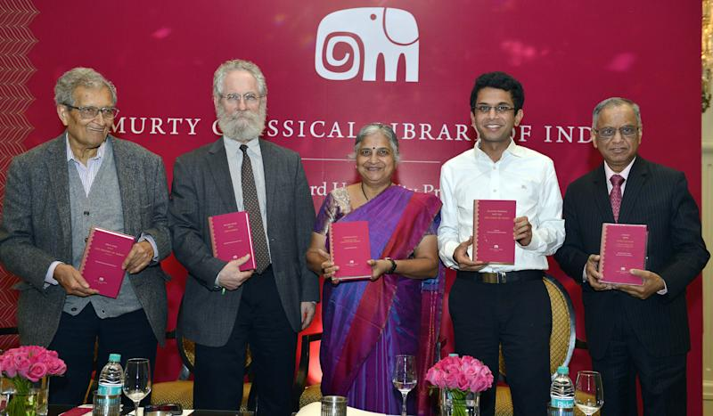 NEW DELHI, INDIA JANUARY 16: Sudha Murthy, Rohan Murthy with father Narayana Murthy at Amartya Sen's launch of a series of books in New Delhi.(Photo by Ramesh Sharma/The India Today Group via Getty Images)